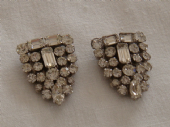Pair of Art Deco Diamante Dress Clips circa 1930 - 1940s (SOLD)